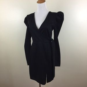 NWT TOPSHOP Black Glitter Low V Neck Belted Dress